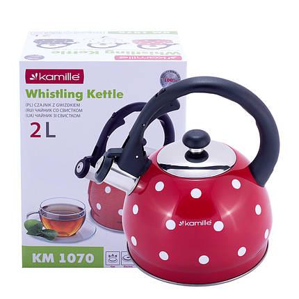 Чайник Kamille Красный 2л из нержавеющей стали со свистком  для индукции и газа KM-1070RD, фото 2