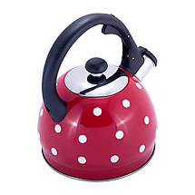 Чайник Kamille Красный 2л из нержавеющей стали со свистком  для индукции и газа KM-1070RD, фото 3