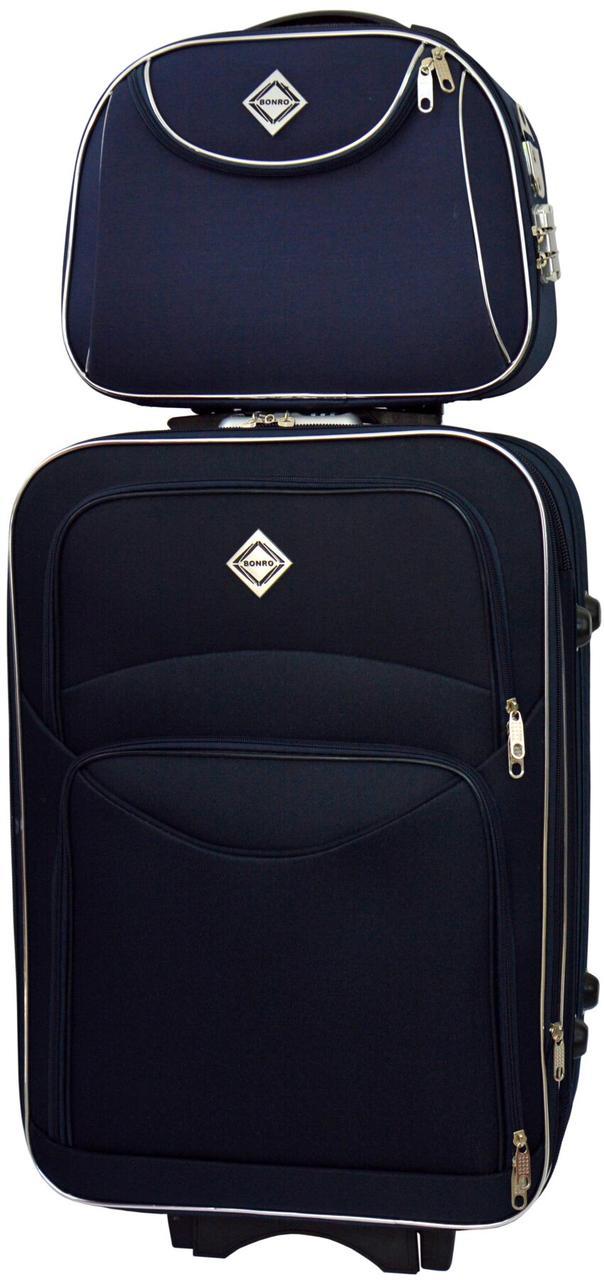 Набір дорожній якісний валізу на коліщатках і кейс для подорожей середній чорний синій