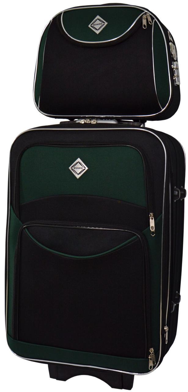 Набір дорожній якісний валізу на коліщатках і кейс для подорожей середній зелений