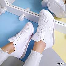 Кроссовки Летние Легкие текстильные белые, фото 3
