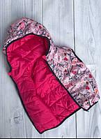 Жилетка демісезонна для дівчинки двохстороння париж рожева