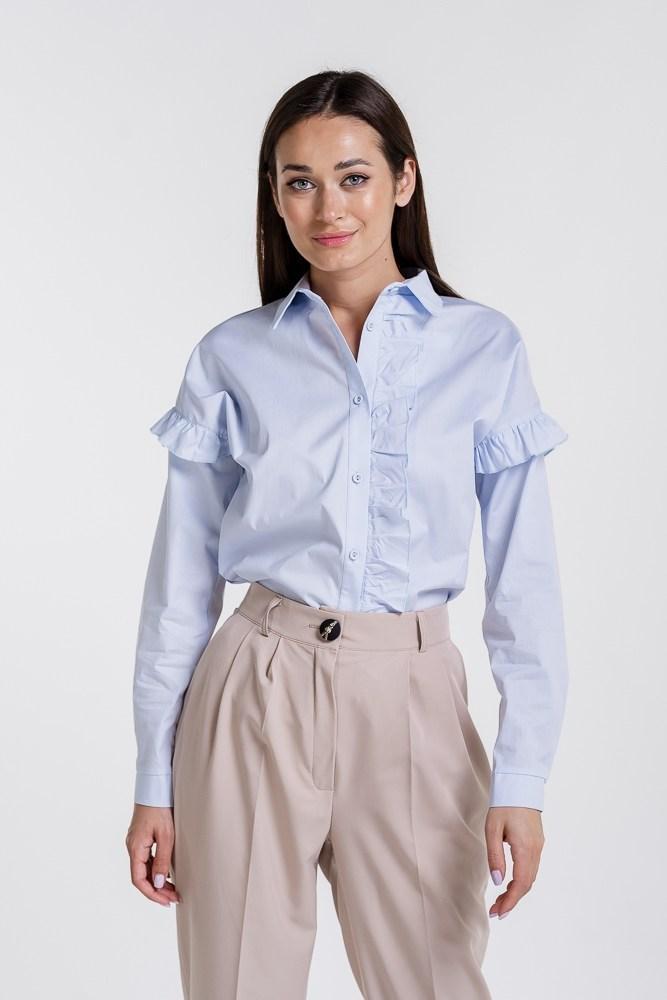 Женская рубашка с рюшами (Голубая)