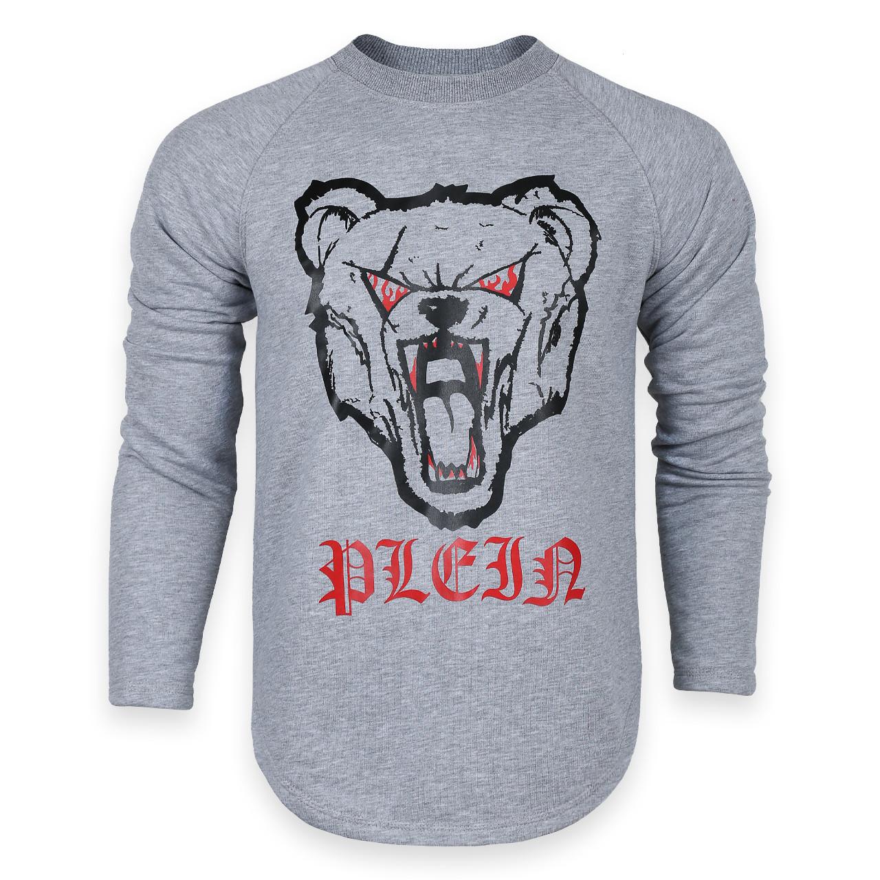 Свитшот мужской меланж PHILIPP PLEIN с принтом Медведь злой №2 Р-2 GRI M(Р) 20-544-201
