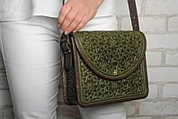 Эксклюзивная оливковая женская сумочка через плечо, тисненый авторский узор