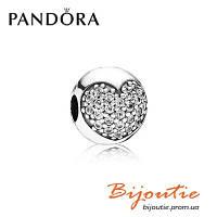 Pandora шарм-клипса Pave СЕРДЦЕ ПАВЕ 791053CZ серебро 925 Пандора оригинал