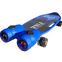 Пенни борд, скейт детский Fire 304, Турбины со светом, паром, дымом и музыкой, колеса светятся, Синий