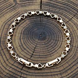 Браслет Xuping 41815 размер 17+3 см ширина 10 мм вес 16.2 г белые фианиты позолота 18К