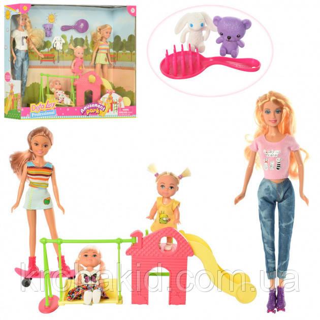 """Ігровий набір Лялька Defa Lucy """"майданчик"""" 8409 - 4 ляльки, гребінець, тварини, гойдалки"""