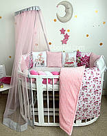Детские бортики в кроватку , Комплект бортиків з принтами Квіткове щастя