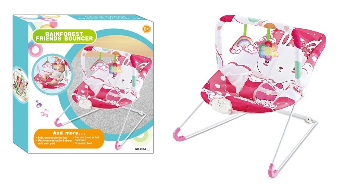 Детский шезлонг-качалка для малыша 432-2 вибрация и мелодия (0-15 кг) Заяц