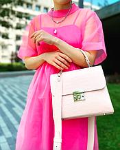 Женская пудровая кожаная сумка Galvani Gia
