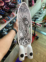 Пенни борд, скейт детский Fire 304, Турбины со светом, паром, дымом и музыкой, колеса светятся, Белый