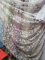 Тюль біла висотою 2.85 м  з перекидним ламбрекеном /Гардина белая длинная с ламбрекеном, фото 1