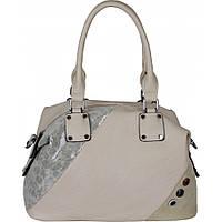 Качественная бежевая сумка из эко-кожи украшена вставкой из замши