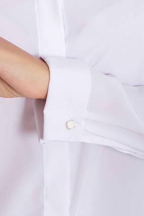 Офисная классическая белая блузка с длинным рукавом, фото 2