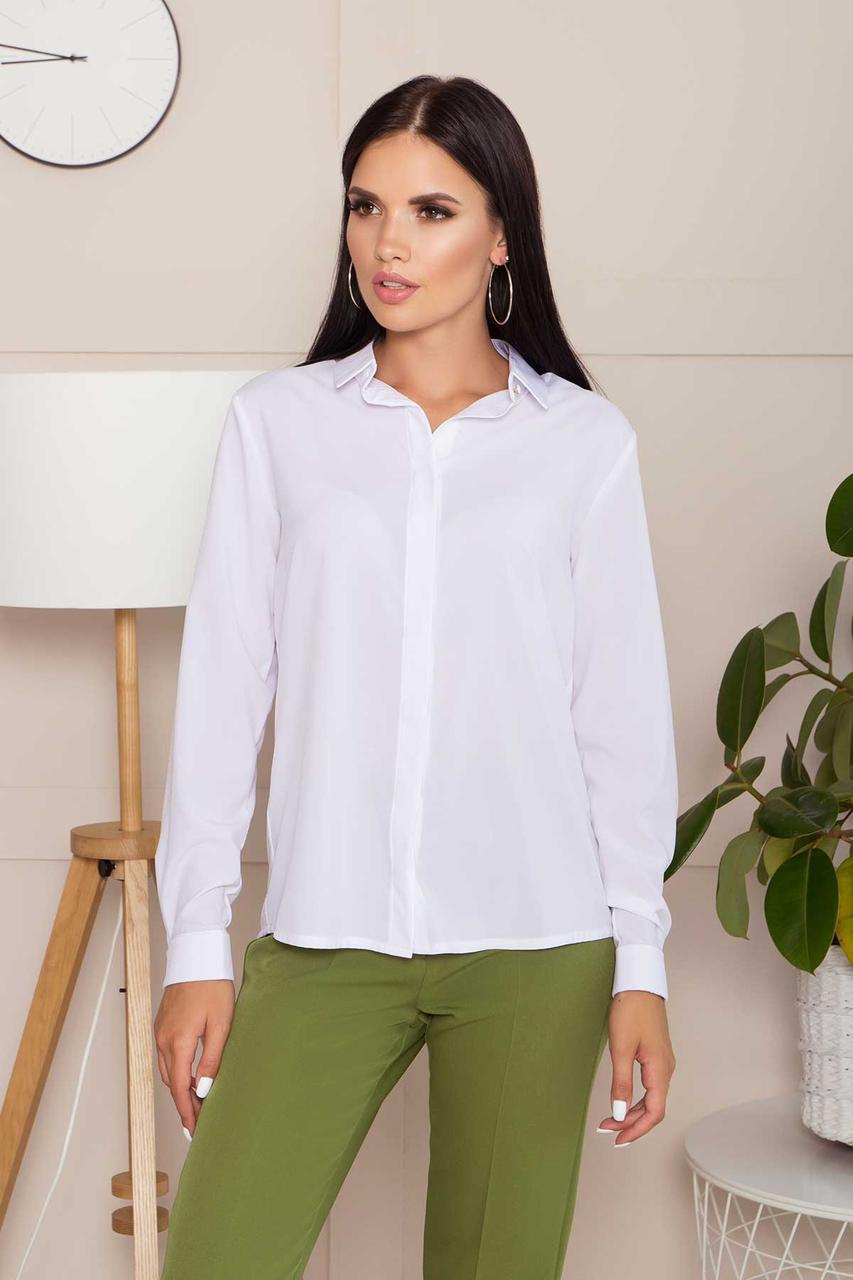 Офисная классическая белая блузка с длинным рукавом