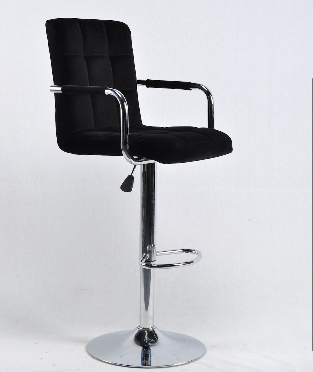 Барный стул Августо AUGUSTO - ARM черный бархат + хром, с подлокотниками