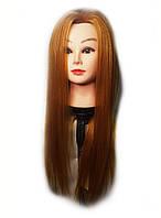 Учебная голова манекен с термоустойчивым волосами  для плетения косичек и причесок  (рыжий) с штативом