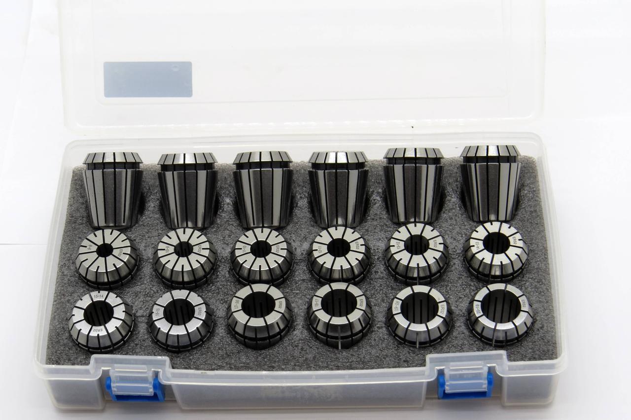Набор зажимных Цанг ER32 диапазон 2-20мм а=0,008 18шт DIN6499B