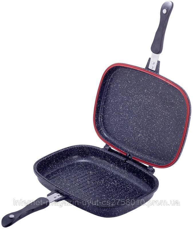 Сковорода-гриль Kamille Grill Pan двухсторонняя прямоугольная 32х24х7.5см