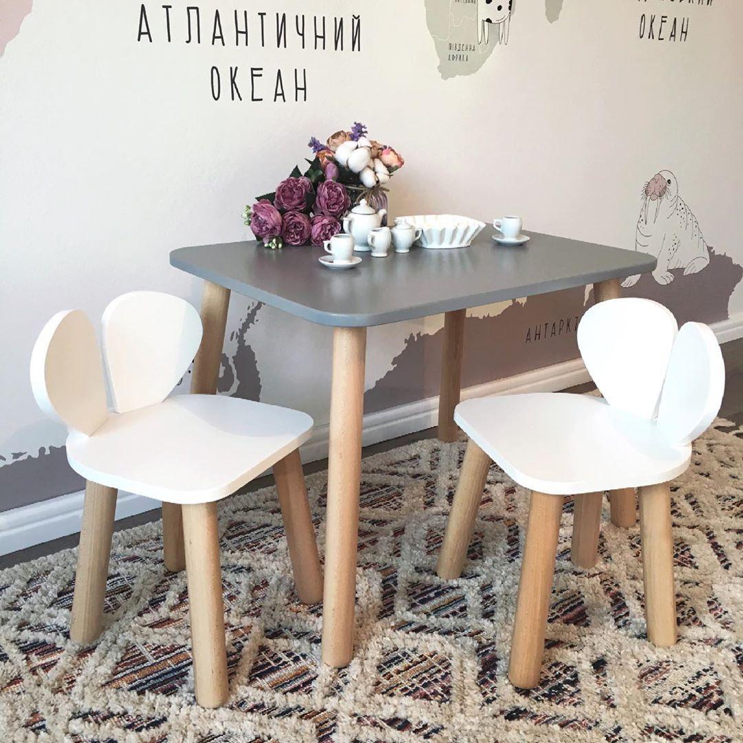 Дитячий стіл і стілець (дерев'яний стільчик ведмедик і прямокутний стіл)