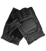 Тактичні шкіряні рукавички Mil-tec безпалі чорні 2XL