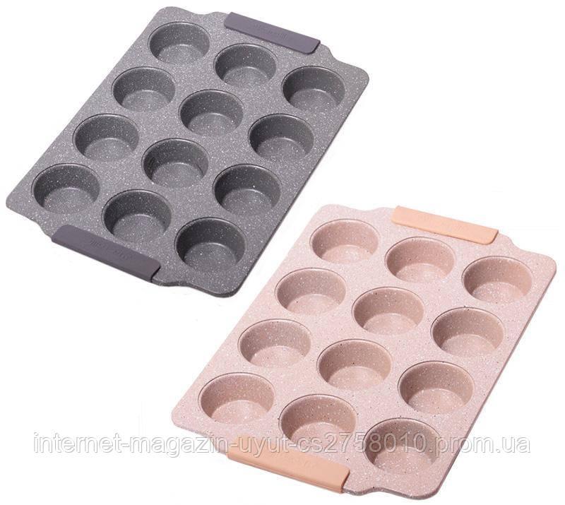 Форма для выпечки кексов Kamille Marble 38х26см, 12 ячеек