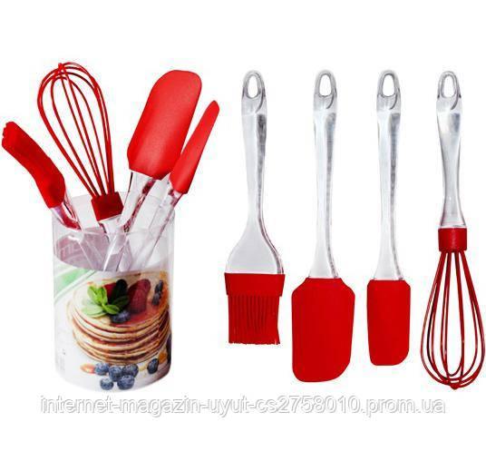 Набір кухонних силіконових аксесуарів Kamille віночок, 2 лопатки і кисть