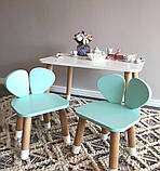 Дитячий стіл і стілець (дерев'яний стільчик ведмедик і прямокутний стіл), фото 3