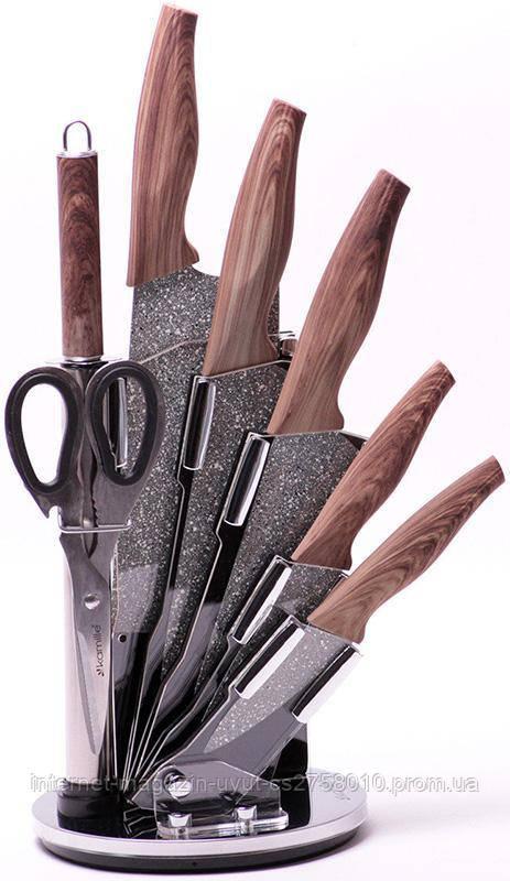 Набор кухонных ножей Kamille Oryen-49 7 предметов на веерной подставке