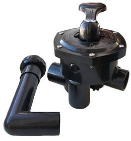 Кран шестиходовой Emaux MPV03 (1½'') боковой, чёрный