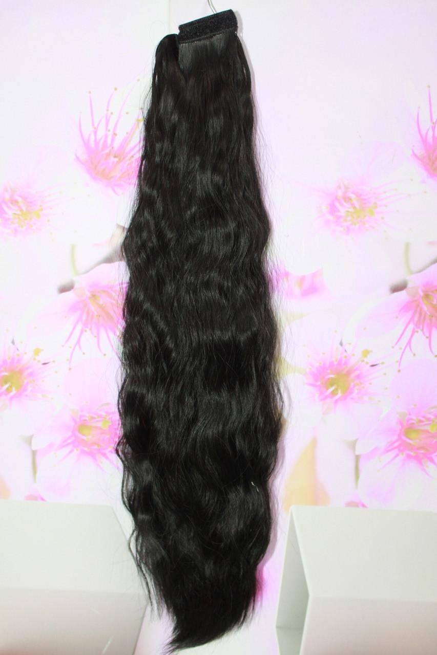 Шиньон термоволокно искусственные волосы на липучке волна черный