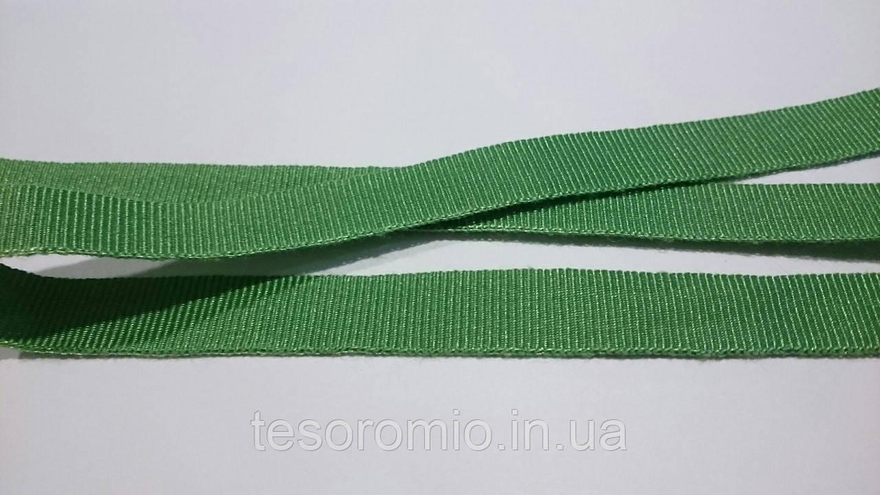 Репсовая лента итальянская, хлопок с вискозой, ширина 10 мм, цвет зеленый