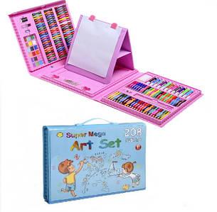 Набор для рисования и творчества в чемоданчике с мольбертом Super Mega Art Set 208 предметов | Розовый