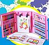 Набор для рисования и творчества в чемоданчике с мольбертом Super Mega Art Set 208 предметов   Розовый, фото 5
