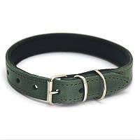 Ошейник для собак кожаный с неопреном О деликат 1,2/20-25 зеленый, фото 1