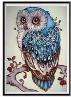 "Алмазная вышивка мозаика  ""Сова синяя"" 25 на 35 см повна, фото 1"