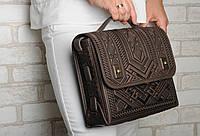 Большая кожаная сумка-портфель, коричневая сумка ручной работы из натуральной кожи, фото 1