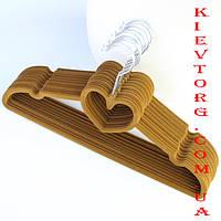Бархатные (флокированные, велюровые) плечики вешалки тремпеля для одежды, свитеров, трикотажа, 40 см, 5 шт