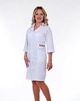 """Медицинский халат женский """"Health Life"""" коттон белый с вышивкой 3123"""