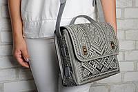 Большая кожаная сумка-портфель, серая сумка ручной работы из натуральної кожи
