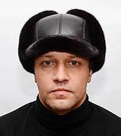 Норковая мужская шапка Ушанка с козырьком