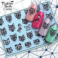 Декор для маникюра наклейка на ногти Fashion Nails водный цветной 3D слайдер-дизайн животные геометрия (3D/55)