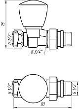 """Кран радіаторний прямий SOLOMON 1/2"""" з ущільнювачем 161404 верх"""