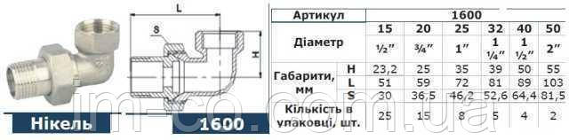 """Згін американка кутова SOLOMON 3/4"""" НІКЕЛЬ 1600"""