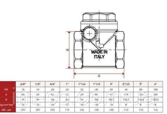 """Клапан зворотнього ходу води ITAP ROMA 1"""" хлопавка 130"""