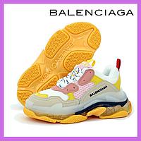 Женские кроссовки Balenciaga Triple S Clear Sole Grey/Yellow