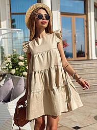 Женское льняное платье свободного кроя (в расцветках)