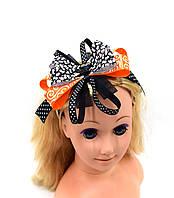 """Обруч на голову """"Банти зі стрічок/Чорний кіт і помаранчевий бант"""" на Хеллоуїн"""